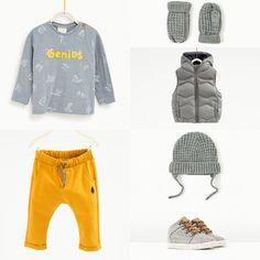 Baby boy outfit. Zara autumn 2016. Yellow-grey.