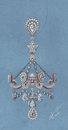 A drawing for an extreme chandelier earring, by Azilaz.