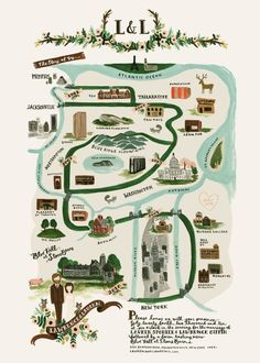 Gorgeous map for Brooklyn Bride's wedding. Illustration by Rifle Paper Co.