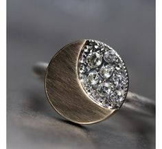 Moon and Stars Engagement Ring Gold Silver Sapphire --11 Main