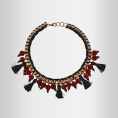 'Japanese' Red Necklace W/ Velvet Beads & Tussels by @Klaidra.  www.yfos.eu