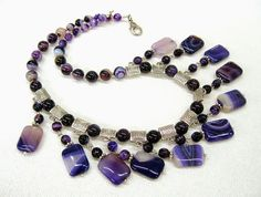 Dark Purple Natural Agate Necklace, statement bib Cleopatra collier, dangling fringe, gemstone jewelry purple color, matching earrings set