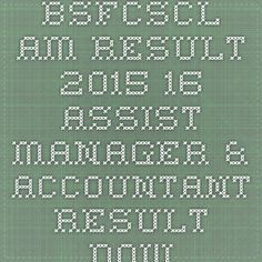 BSFCSCL AM Result 2015-16 Assist Manager & Accountant Result Download - |Recruitment Result Admit Card| |Application Form |Answer Key | Cut Off|