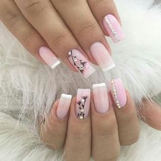 Pink and white clear pink acrylic with rhinestone and flower details and accent nails Acrylic Gel Nails - Summer Fall Nail Designs - Cute Fingernail Art Ideas French Nails, Gel Nail Art, Acrylic Nails, Nail Polish, Natural Gel Nails, Elegant Nails, Super Nails, Nagel Gel, Flower Nails