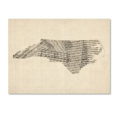 Old Sheet Music Map of North Carolina by Michael Tompsett Graphic Art on Wrapped Canvas