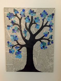 This item is unavailable - Button Tree Canvas by CrazyAboutCanvases on Etsy… This is so cool! Button Tree Canvas, Button Tree Art, Craft Night, Button Crafts, Art Background, Art Plastique, Diy Art, Collage Art, Book Art