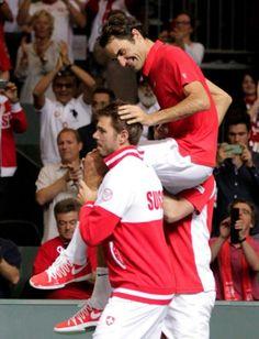 Stansilas Wawrinka SWISS TEAM SUISSE Switzerland  Roger Federer Davis Cup 2014