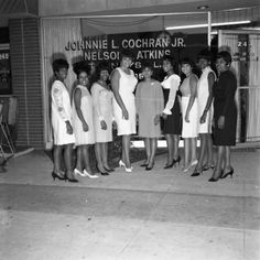 Young women pose in front of the law offices of Johnnie Cochran Jr. and Nelson Atkins, Los Angeles, 1972. Harry Adams Collection. Institute for Arts and Media Photographs.