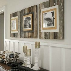 LOVE these Layered Reclaimed Wood Frames