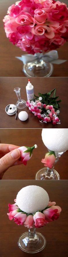 Dollar store candle stick, Styrofoam ball, glue whatever flowers you one onto it.
