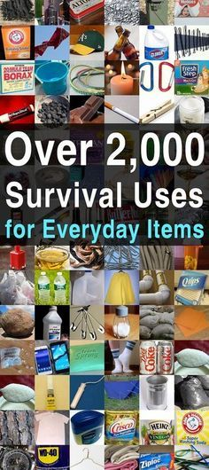 Over Survival Uses for Everyday Items. This is one you're going to want to bookmark. It's the ultimate index to survival uses for everyday items. Below you'll find a list of nearly 100 ordinary items that have all sorts of survival Emergency Preparedness Kit, Emergency Preparation, Survival Prepping, Survival Skills, Survival Hacks, Survival Quotes, Survival List, Survival Gadgets, Survival Essentials
