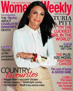 """""""When people say they feel sorry for me, I don't really get it. I don't feel sorry for myself at all."""" Turia Pitt, Australian Women's Weekly June 2014 cover Turia Pitt is a Australian burns survivor and has been celebrated for her humanitarian work and positive attitude. She's an ambassador for Interplast Australia and New Zealand (a charity that provides free reconstructive surgery to burn victims in developing countries) and has helped raise over $500,000 for them through fun..."""