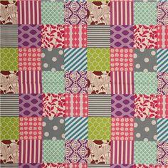 Patchwork piece echino Canvas Stoff pink-grau-lila 2