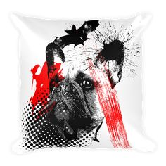 "Unique Frenchie Bat Trash Polka Style, in this beautiful 18"" pillow. Perfect for Frenchie lovers and Tattoo enthusiasts. Coming soon... Made in USA"