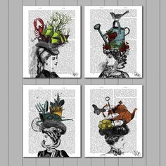 Picture showing FabFunky - Collection - 4 Prints, The Mad Hatters, Antiquarian Book Prints, 20.3 x 25.4cm