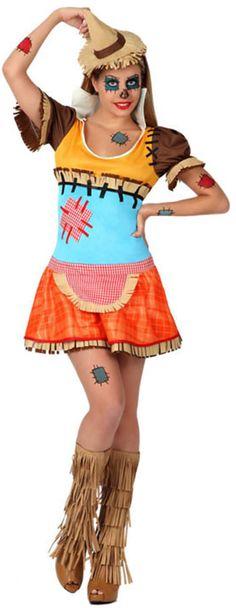 Disfarce espantalho sexy mulher Halloween: Este disfarce de espantalho sexy para mulher é composto de um vestido e de um bandolete ( calçado não incluido).O vestido é curto é muito colorido. Ele possui...
