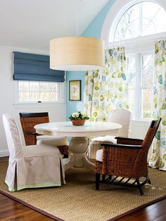 Define the Dining Area - chairs pushed away from table are still on the rug - like this sisal rug for our dining room