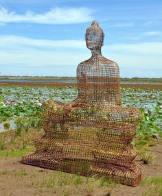 Seated Buddha, 2011, rattan, bamboo, wire, plywood 100.75 x 86.5 x 43.25 Sopheap Pich