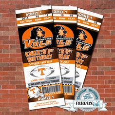 Tennessee Volunteers Vols Ticket Style Birthday Party by NuanceInk