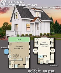 Plan Simple Modern Farmhouse Plan Under Square Feet Architectural Designs Tiny House Plan with 1 Bedrooms 2 full baths in Sq Ft per unit. Simple House Plans, Tiny House Plans, Small House Plans Under 1000 Sq Ft, 1000 Sq Ft House, Full House, Small Modern House Plans, Tiny Home Floor Plans, Small Home Plans, Modern Farmhouse Plans