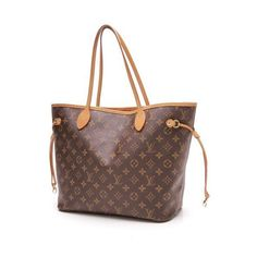 Pre-Owned Louis Vuitton Neverfull MM Monogram Tote Bag ($1,000) ❤ liked on Polyvore featuring bags, handbags, tote bags, brown, canvas totes, monogrammed canvas tote bags, canvas tote handbags, louis vuitton tote and canvas tote bag