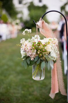 mason jar idea, flowers along with candles