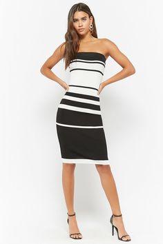 Striped Ribbed Bodycon Tube Dress