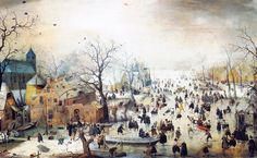 """Hendrick Avercamp's 'Winter landscape with ice skaters', c.1608 ~ Avercamp (1585-1634) was one of the first landscape painters of the 17th-century Dutch school, and the most famous exponent of the winter landscape. He was deaf and dumb and known as """"de Stomme van Kampen"""" (the mute of Kampen)."""