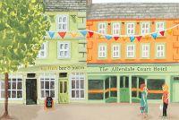 Cockermouth, Cumbria. Market place. Floods. Commissioned - Jenny Daymond Illustration