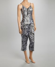 Look what I found on #zulily! Black & White Zebra Camisole Pajama Set by Kathryn #zulilyfinds
