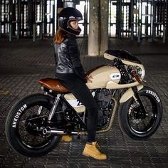 "thebestmotorcycles: ""CAFE RACER  Instagram.com/caferacergram Misha on her 400 by AH Kustom 