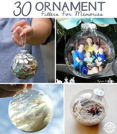 Lots of creative ways to fill ornaments with memories, gifts and even food!
