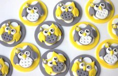 Edible fondant owl toppers. One set of whimsical owl fondant toppers. Perfect for birthday, baby shower, baptism or christening celebration. by Les Pop Sweets on Gourmly