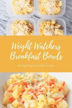 Breakfast Bowls Weight Watchers Freestyle Breakfast Bowls Weight Watchers Freestyle Meal prep directions included makes breakfast for 6 days Plats Weight Watchers, Weight Watchers Meal Plans, Weigh Watchers, Weight Watchers Breakfast, Weight Watcher Dinners, Weight Watcher Recipes, Weight Watchers Smart Points, Weight Watchers Lunches, Weight Watchers Sides