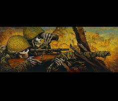 Skeleton Sniper and Spotter in World War II by David Lozeau