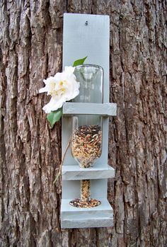 Wine Bottle Bird Feeder, Medium, Bird Lover Gift, Wine Lover Gift, Bird Feeder
