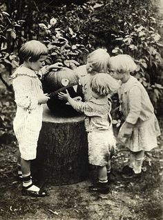 vintage photo pumpkin carving