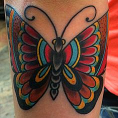 My new tattoo!! Traditional butterfly tattoo by Clay Cole at Broadway Tattoo, New Philadelphia OH