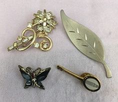 Vintage Brooch Lot Rhinestone Flower Leaf Butterfly Elovitz Pin Jewelry