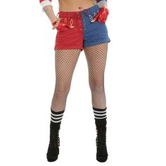 DC Comics Suicide Squad Harley Quinn Lace-Up Split Shorts, Hatley Quinn, Dc Comics, Daddys Lil Monster, Embroidered Shorts, Harley, Jacket Dress, Polyvore Outfits, Hot Topic, Lace Shorts