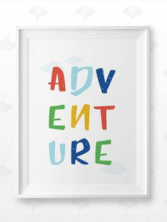 This amazingly cute Adventure poster fits kids room or any other room :) Looks best when framed. All Illustrations were made by us, LadiesMinimal from scratch, without using any premade elements. Inspirational Posters, Exercise For Kids, Nursery Prints, Art For Kids, Baby Gifts, Kids Room, Letters, Illustrations, Adventure