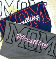 Long sleeve wrestling MOM tee on Etsy, $25.00