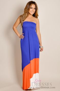 Bring it on Summer! Love this strapless maxi!  Cute Multi Color Daytime Chic Flowy Color Block Tube Top Maxi Dress