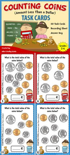 Money Task Cards {Counting Coins with Amount Less Than a Dollar} Teaching Money, Teaching Math, Math Resources, Math Activities, Counting Coins, Counting Money, Teacher Tools, Teacher Binder, Consumer Math