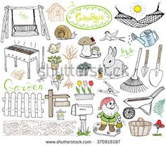 Garden set doodles elements. Hand drawn sketch with gardening tools, flowers and plants, garden figures, gnome mushrooms, rabbit, nest and birds, backyard swing. Drawing doodle, isolated on white.