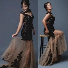Black Long Trumpet/Mermaid Lace Spliced Scoop Tulle Prom Dresses by prom dresses, $192.00 USD