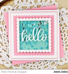 Jeanne here today and I'm sharing a fun card made with a die from this month's release! I'm so excited with the new seed bead colors and used them as inspiration for my designs! The Hello… Hand Made Greeting Cards, Making Greeting Cards, Pretty Pink Posh, Interactive Cards, Cricut, Shaker Cards, Little Boxes, Paper Roses, Cool Cards