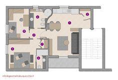 Progetto per ristrutturazione appartamento a Monza:  1 - soggiorno/cottura 2 - guardaroba 3 - disimpegno 4 - bagno 5 - camera 6 - bagno privato camera 7 - ripostiglio 8 - camera