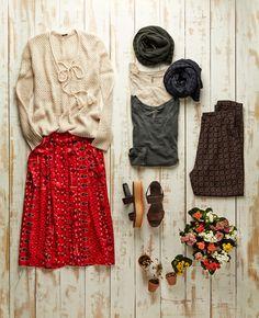 suéter cestaria (ref. 515861) blusa cachecol xadrez (ref. 515608) saia est. vintage midi (ref. 515403) sandália anabela workers (ref. 515603) calça losango (ref. 515634)