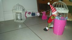 Our little elf 'Bob' helping out a friend...doing  Barbie's laundry.